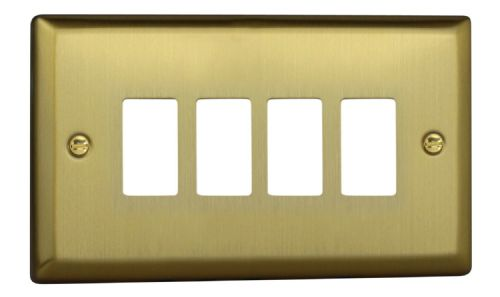 Varilight XYPGY4.BB Urban Brushed Brass 4 Gang PowerGrid Plate (Twin Plate)